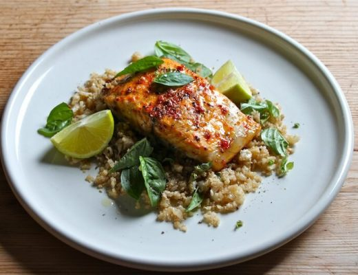 SPICED CAULIFLOWER COUS COUS WITH HARISSA BAKED BARRAMUNDI BASIL LIME ...