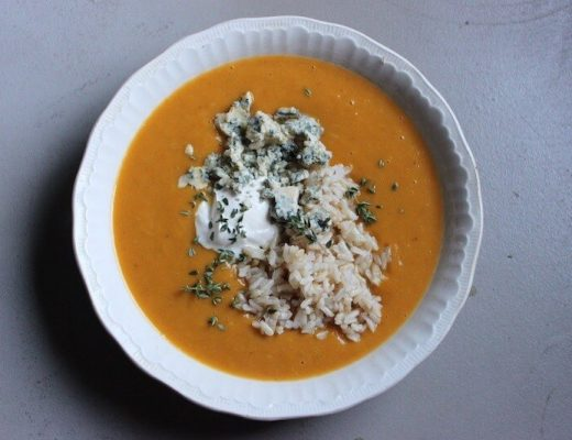 Pumpkin and Leek Soup with Brown Rice, Blue Cheese and Sour Cream
